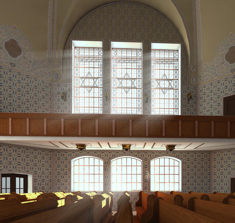 Neue Synagoge - Innenraum mit Blick Richtung Süden