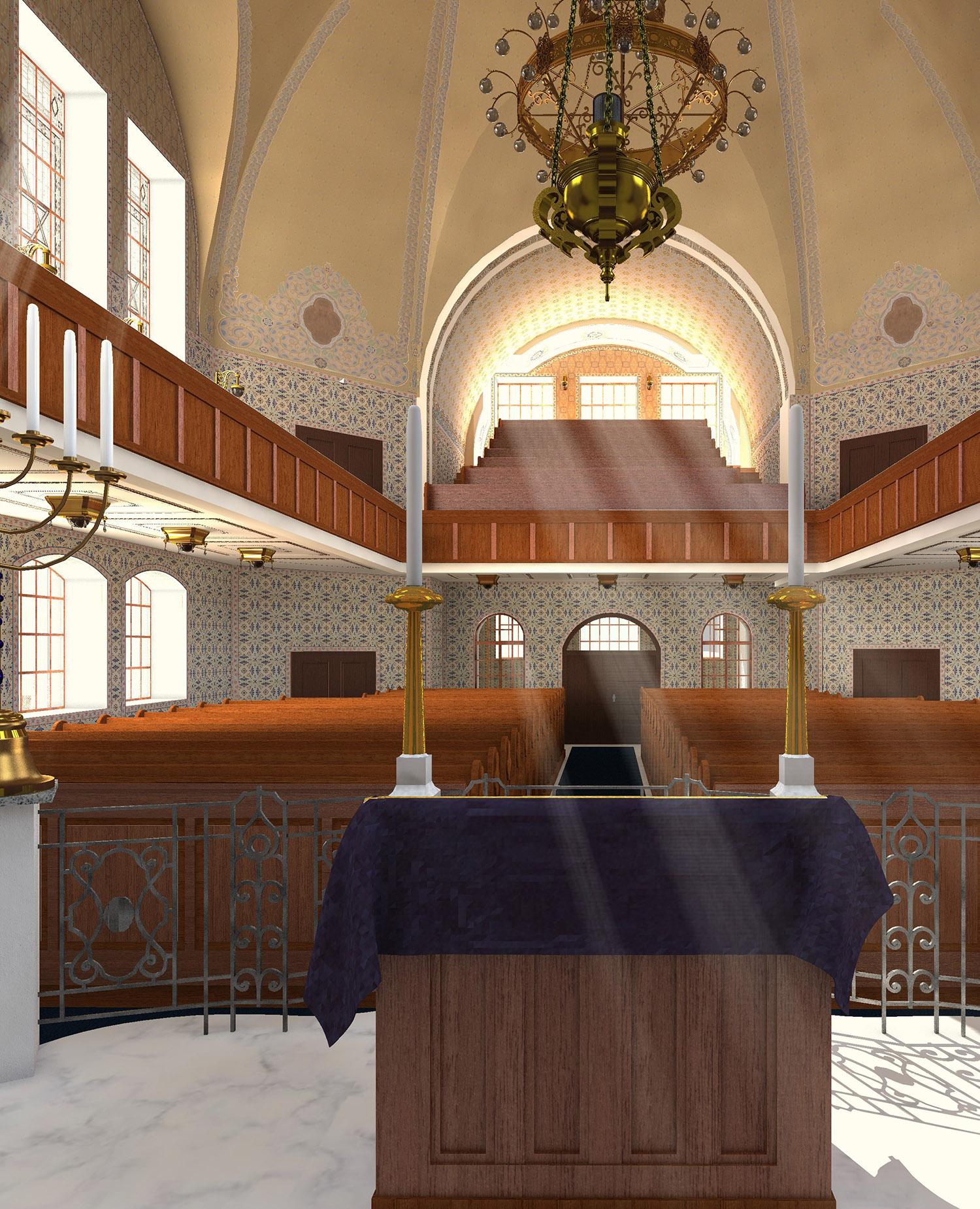 Neue Synagoge - Innenraum mit Blick Richtung Frauengalerie