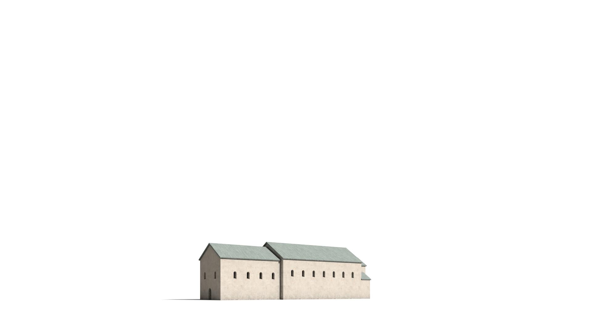 Virtuelle Rekonstruktion der Vorgängerbauten des Paderborner Doms, die Salvatorkirche von 777, Blick von Südwesten