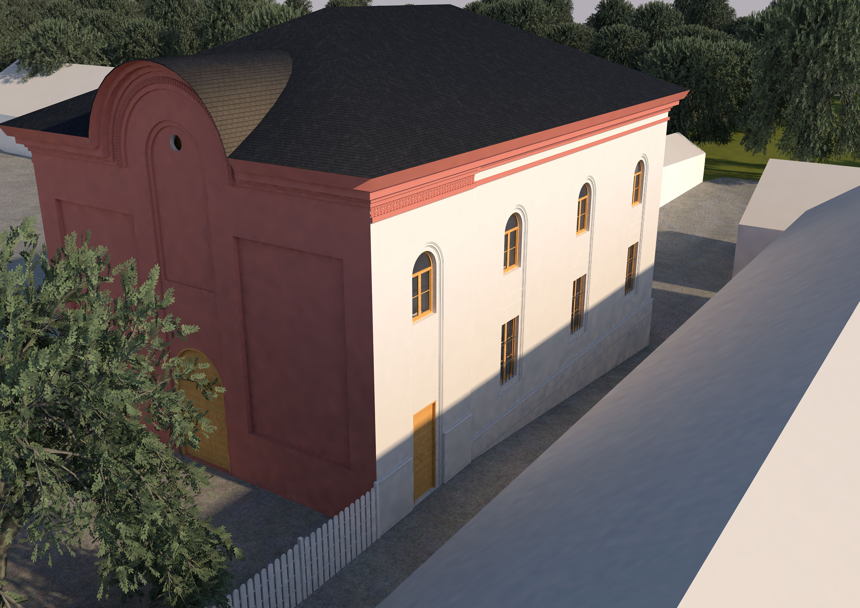 Außenansicht Ostseite Synagoge