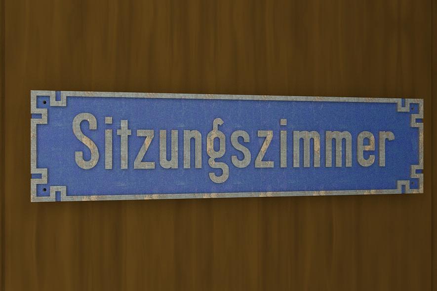 """Schild """"Sitzungszimmer"""" Rekonstruktion"""