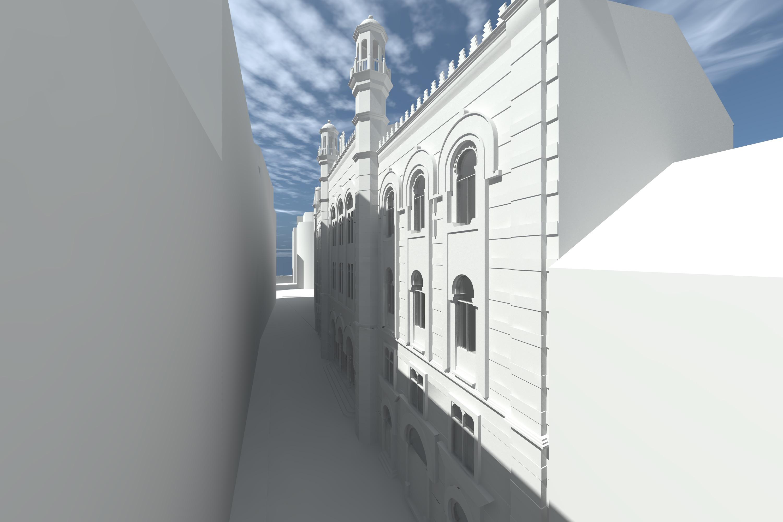 Westfassade, Weißrendering