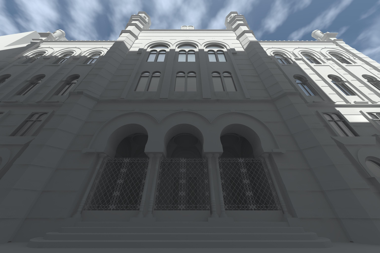 Ansicht Eingangstor, Weißrendering