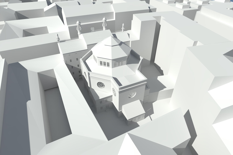 Ansicht Ostfassade, Weißrendering