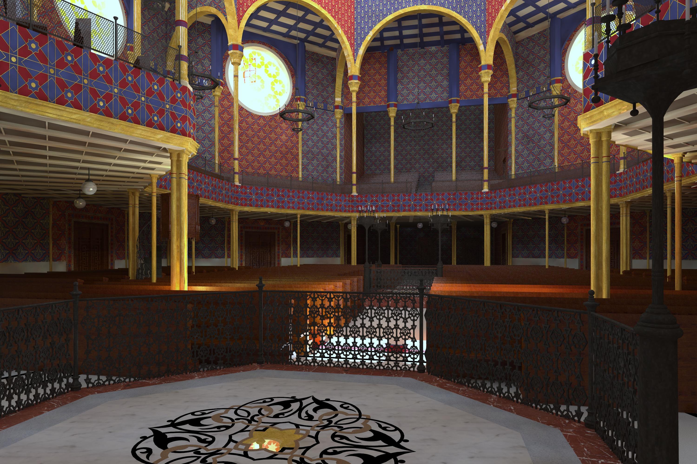 Blick vom Thoraschrein in die Synagoge, Visualisierung