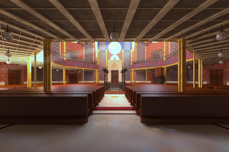 Blick vom Eingangsbereich in die Rumbach-Synagoge, Visualisierung