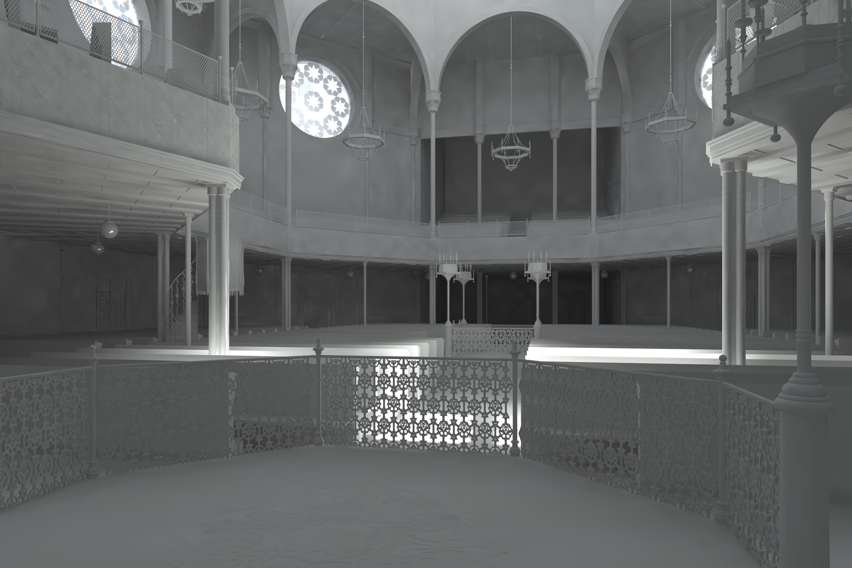Blick vom Thoraschrein in die Synagoge, Weißrendering