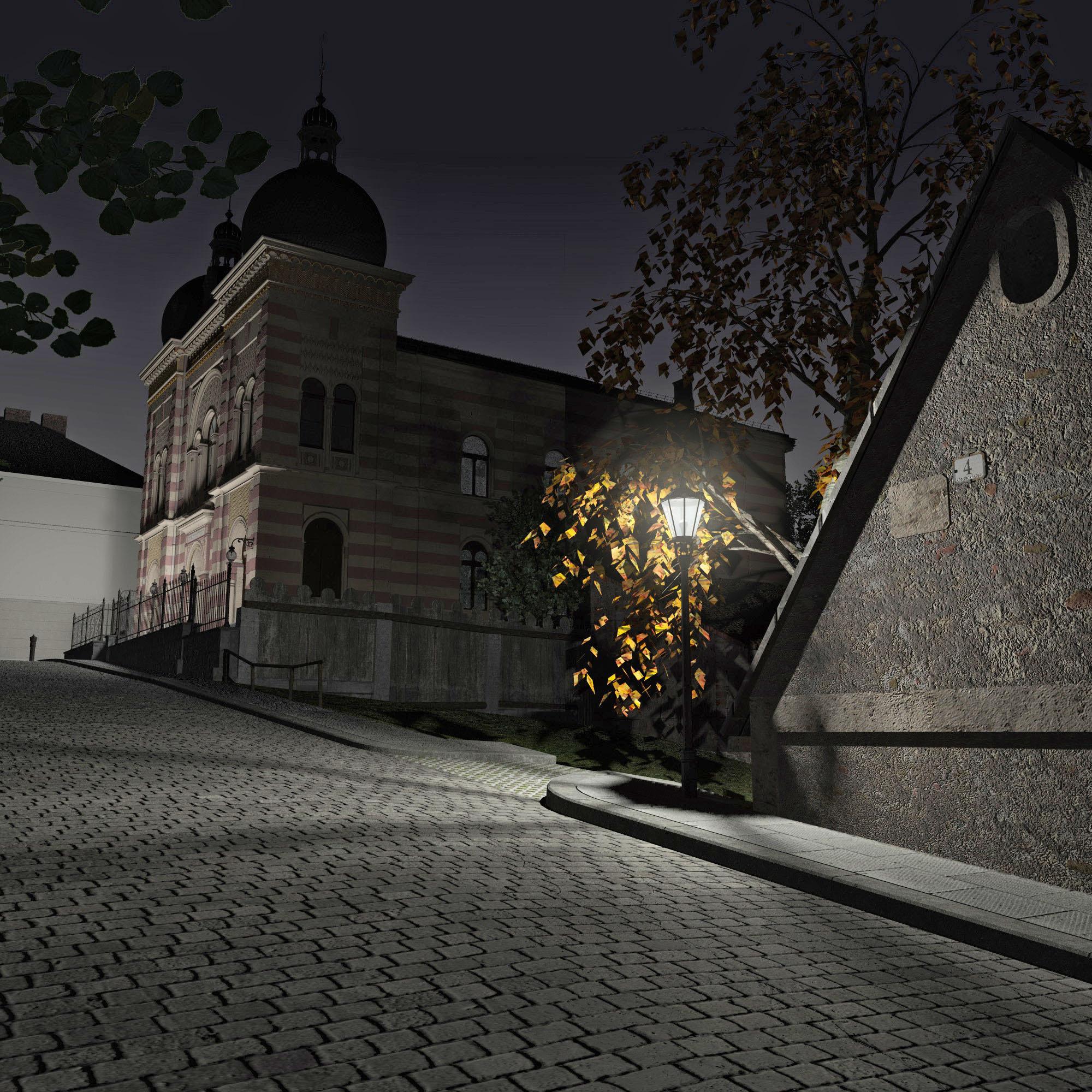 Außenansicht rekonstruiert bei Nacht