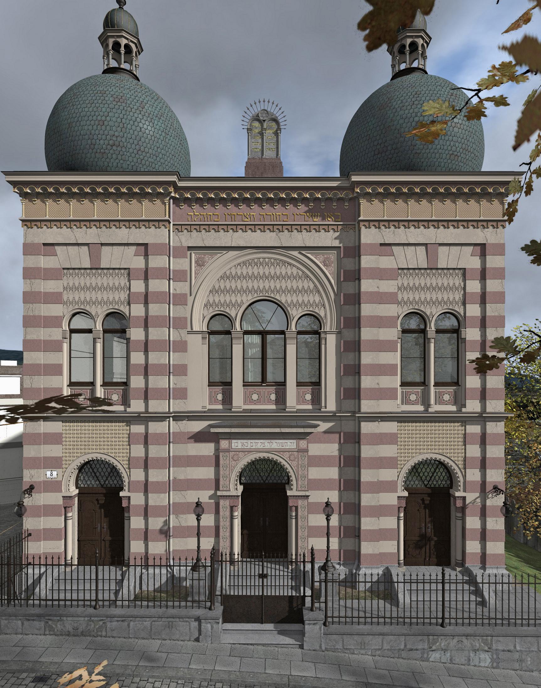 Frontansicht der Synagoge rekonstruiert