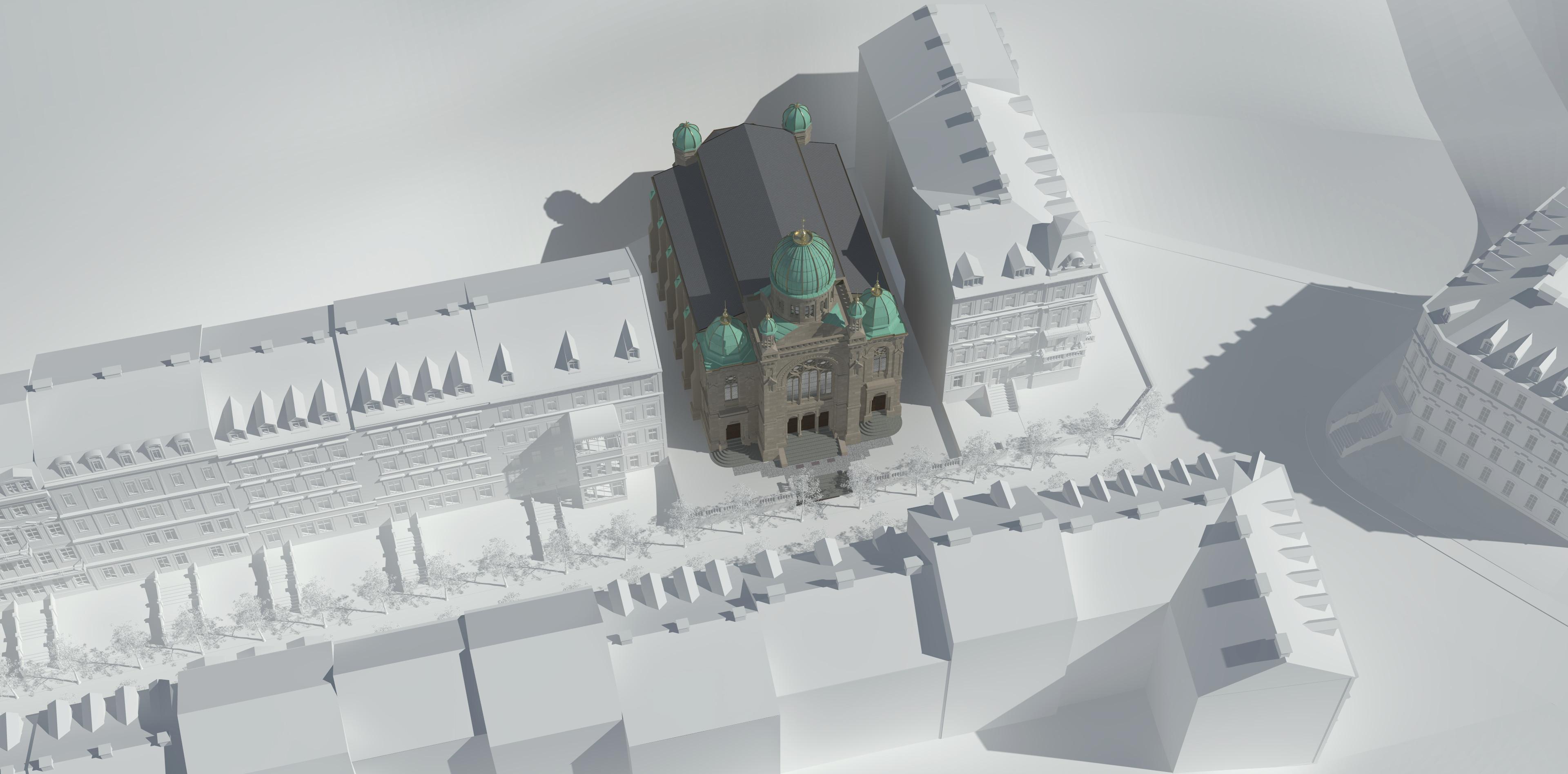 """Umgebung der Synagoge als """"weißes Modell"""""""