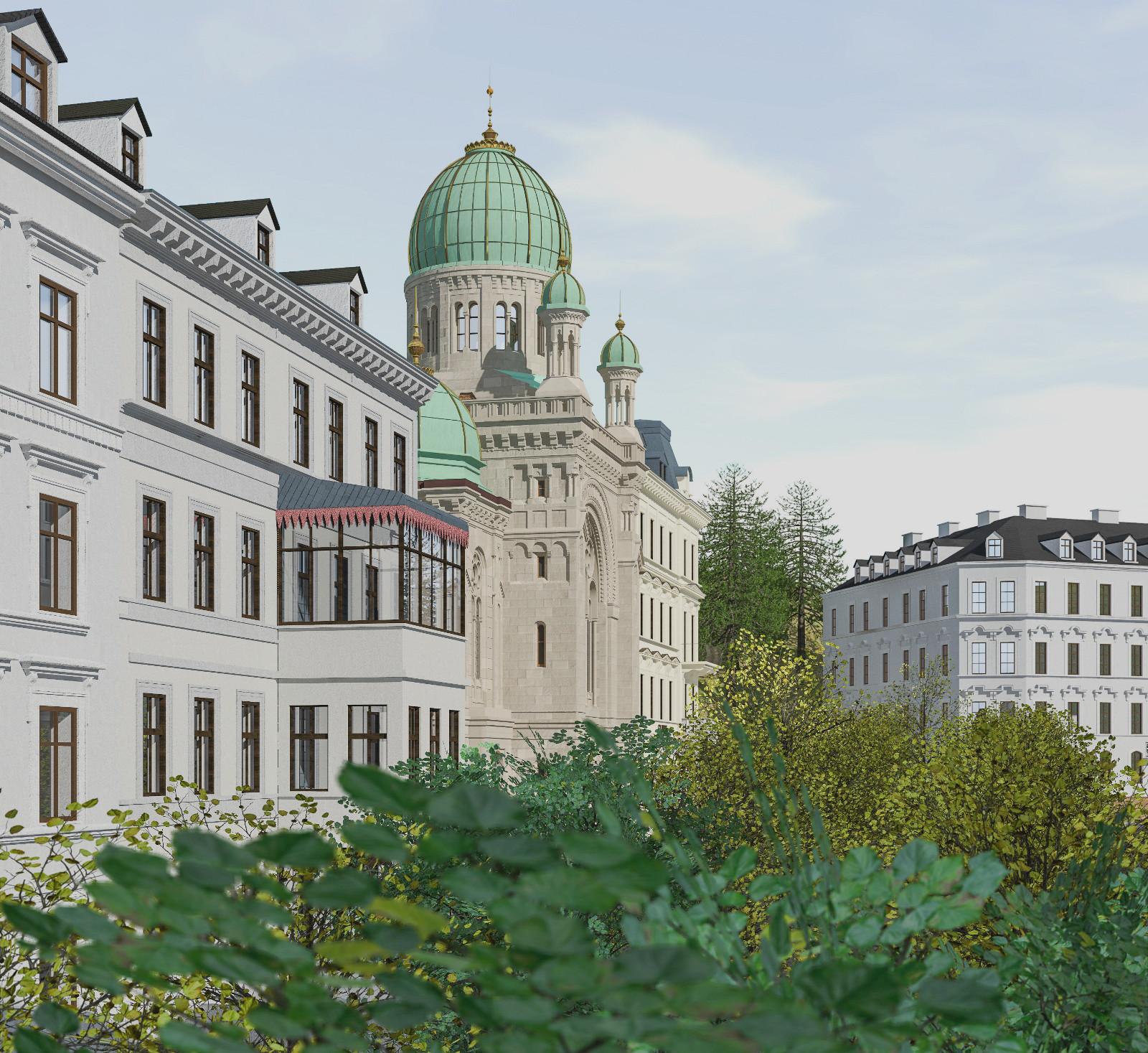 Blick von Nordosten auf die Synagoge