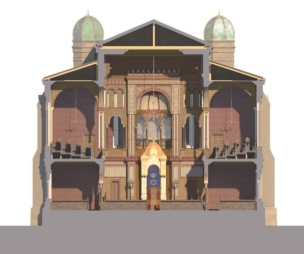 Querschnitt der Synagoge