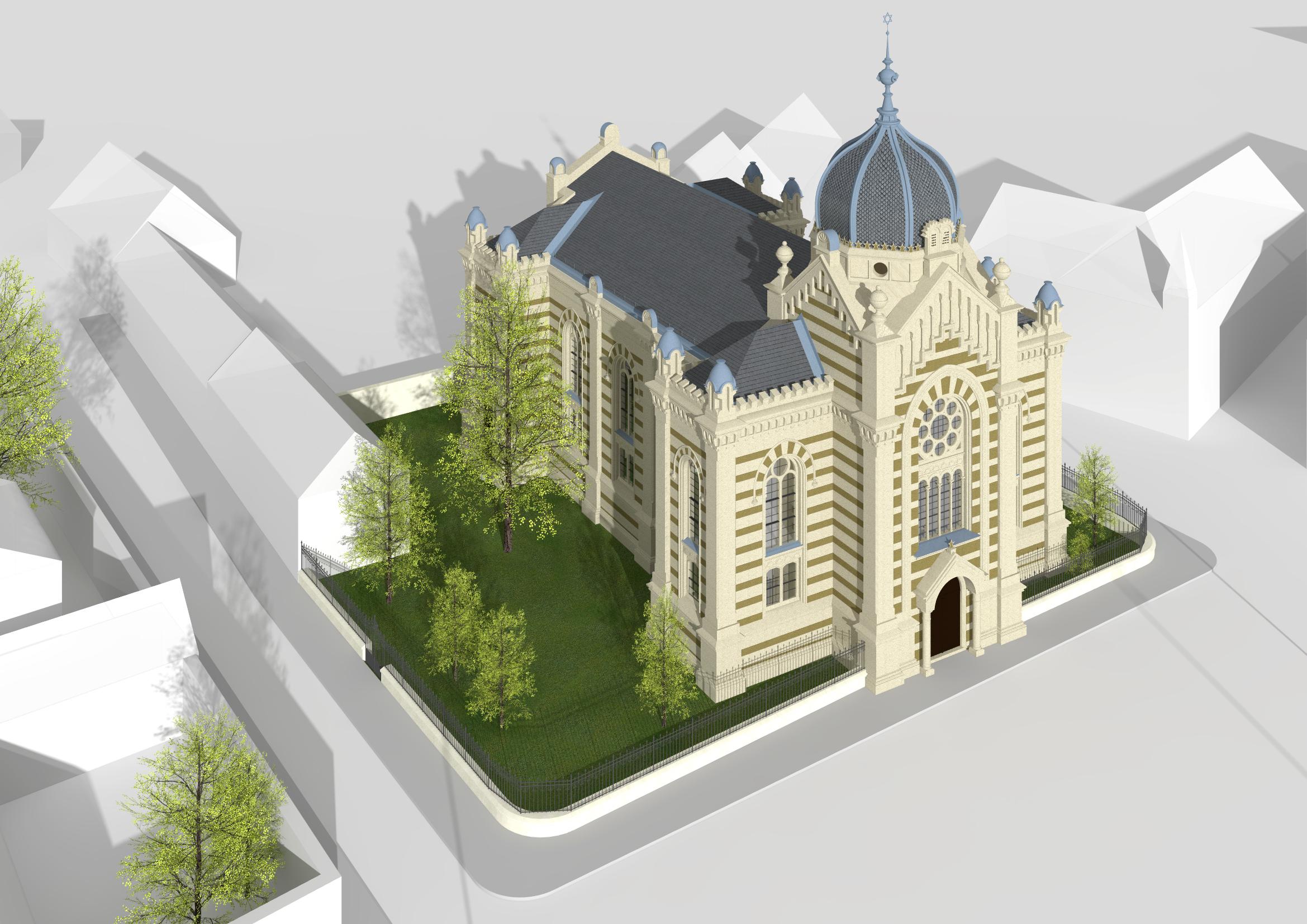 Luftbild der Synagoge