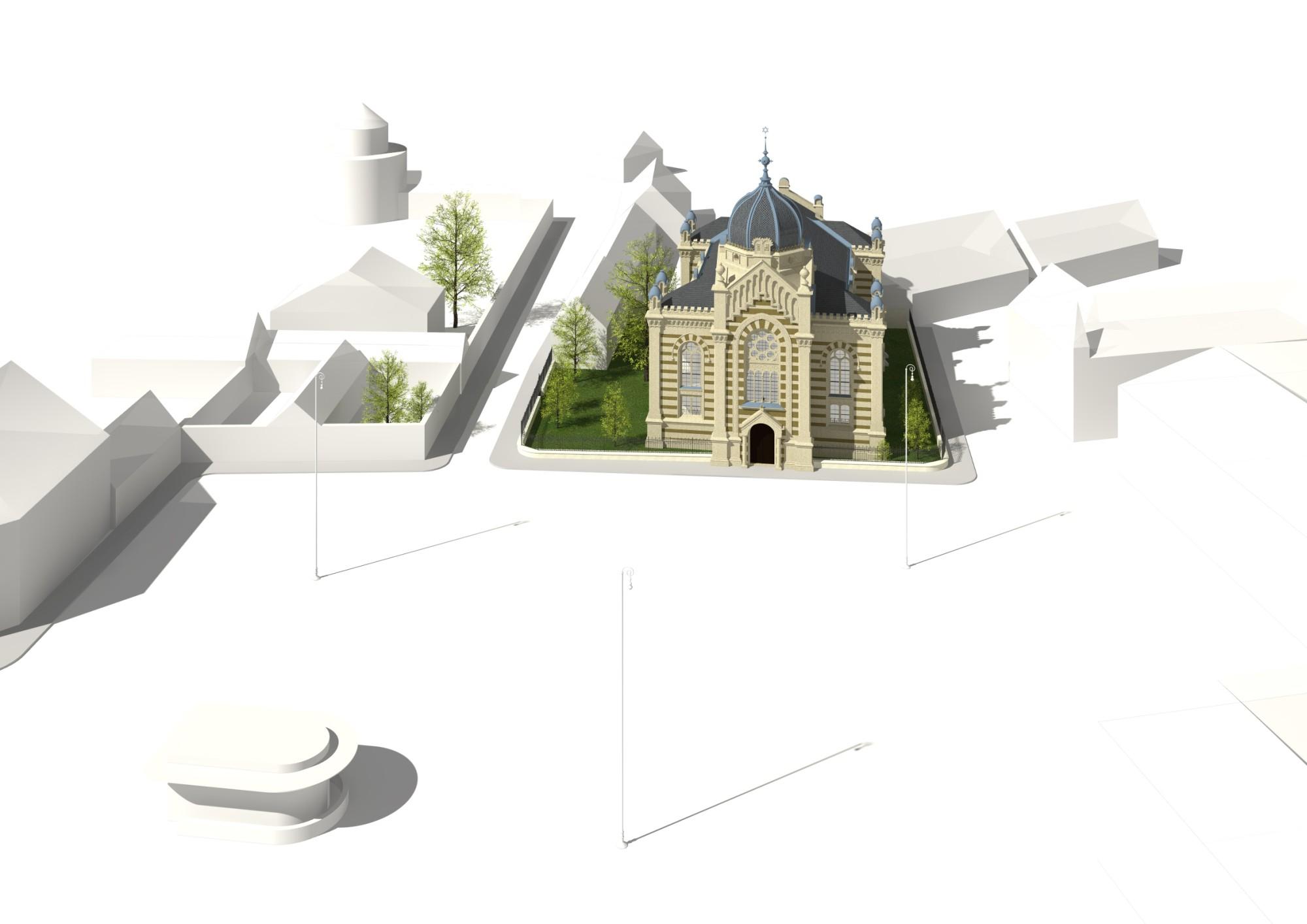 Synagoge inklusive ihrer Umgebung aus der Vogelperspektive